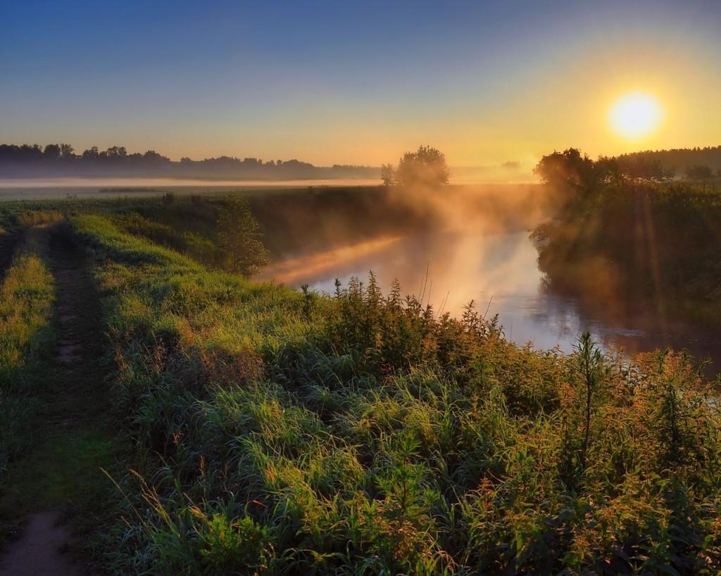 солнце, туман, речка